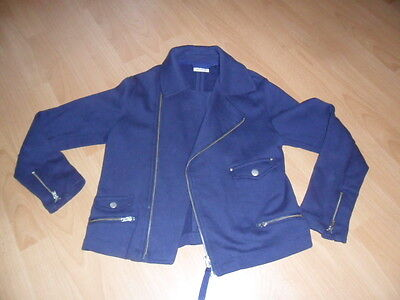 Girls Next blue sweater biker jacket age 10 nice cond as worn twice