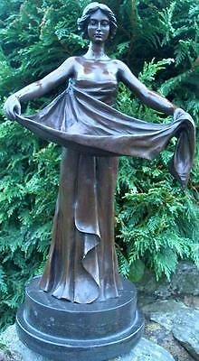 DELIGHTFUL 100% PURE BRONZE ART DECO LADY..Signed M Bouval French Foundry Seal