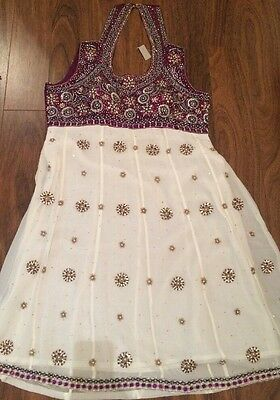 Ladies White/purple Indian Dress With Embrodiery. BRAND NEW