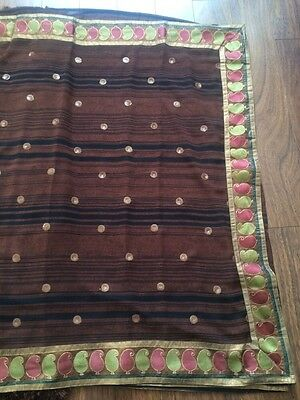 Brown Saree With Black Horizontal Lines. Gold Border. Brand New.