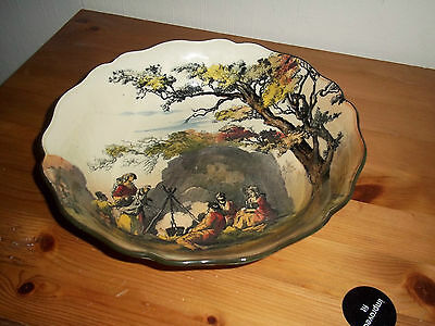 Superb Royal Doulton bowl in English old scenes series, rarer Gipsies type, used