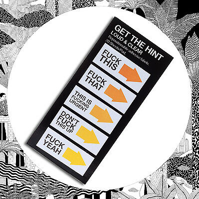Rude Sticky Label Get The Hint- Loud And Clear- Swear It Word Post Stickers Note