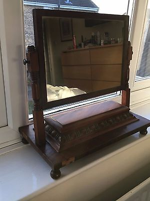 Antique William IV mahogany dressing table swing mirror with hinged compartment