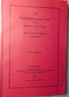 MASONIC - Consitution & Laws of Supreme Grand Chapter Scpottiosh Freemasons. EX