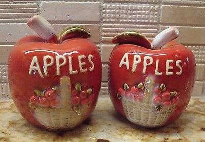 Apples Salt & Pepper Shakers - Apple Basket Motif - Excellent Condition!!