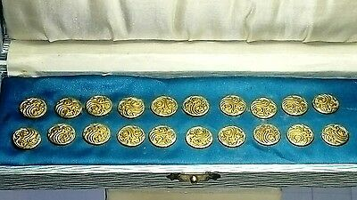 Boxed Set Of 20 X Antique Victorian. Gilt Buttons, Highly Decorative.