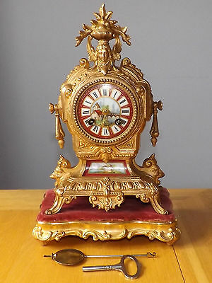 Antique French Japy Freres 8 Day Striking Boudoir Mantle Clock with Stand