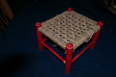 Childs Rush Woven Seat Stool Vintage Reto 2 Of 2 Red Frame