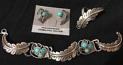 VTG  Native American Jewelry 3 Pc. Set Sleeping Beauty Turquoise Feather SS .925