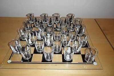 Glass Chessboard With Glass Shot Glasses
