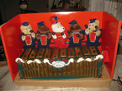 Mr Christmas Bandstand Teddy Bear Xylophone 35 Tune Music Box Retired