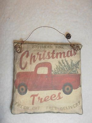 Fabric Ornament Peg Hanger Red Pickup Truck Xmas Trees Country Primitive Decor