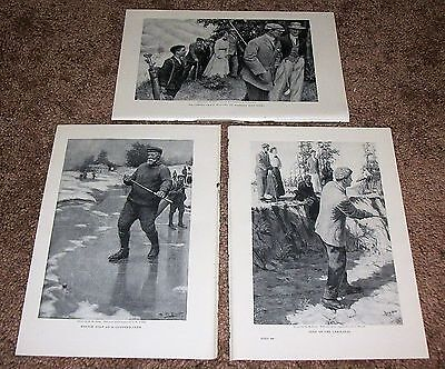 Vintage Antique 1909 Lot Of Three Lovely H.m. Brett Golf Book Plates