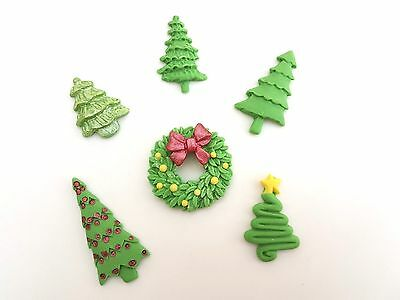 6 Edible Christmas Wreath and Tree Icing Cake Toppers