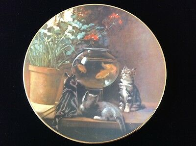 """Cats & Goldfish Collector Plate """"Curiosity"""" by John Henry Dolph  with COA"""