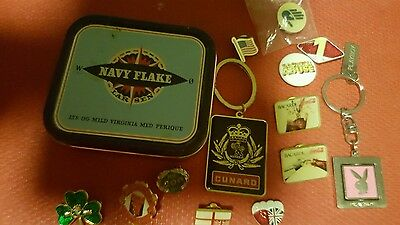 tin and contents badges keyrings