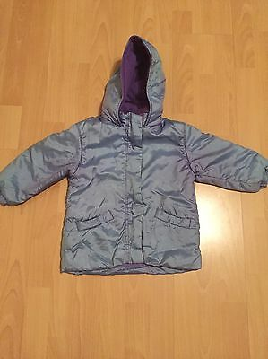 Girl's Mothercare Purple Hooded Winter Coat Age 2-3
