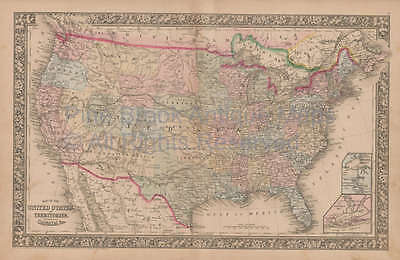 United States Vintage Map Mitchell 1864 Original Home Decor History Gift