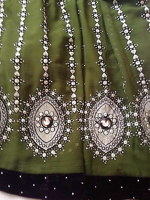 Asian Maxi Dress With Churidar Trousers Green/Purple With Diamontes Size 14