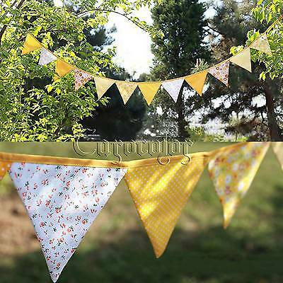 Yellow Handmade Double  Fabric Flags Bunting Banner Garland Wedding Party Decor
