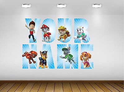 Paw Patrol Letter Name Wall Stickers Decal Personalised 3 Sizes