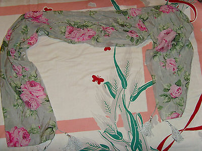 Beautiful large pink roses chic womens scarf wrap tassels country floral shabby