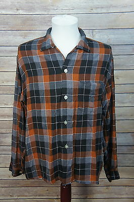 VTG 1950's PENNEYS Rayon Loop-Collar Checkerboard Plaid Shirt L/XL chevella