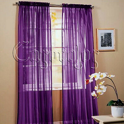"""2x Purple Solid Sheer Window Panel Curtains Drape Voile Treatment Scarf 60""""X84"""""""