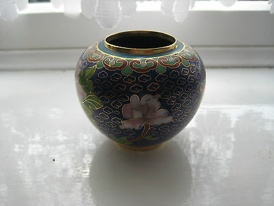 Cloisonne Blue Urn/Pot with stand