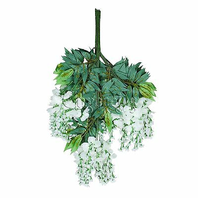 12pcs White Vine Wisteria Hanging Party Artificial Silk Flower Ivy Bouquet Home