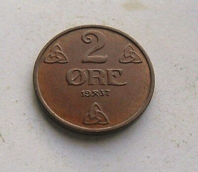 Norway, 2 Ore 1937, Excellent Condition.
