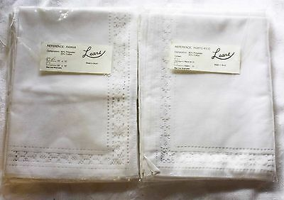 Napkins and Placemats set, 6 each, white, pulled thread lace trimmed made Brazil