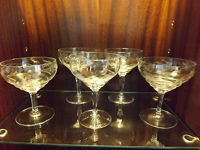 Beautiful Set Of 5 Etched Glass Champagne Glasses