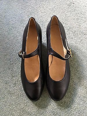 Bnwot Ladies Black Leather Dance Shoes In Box Size 36
