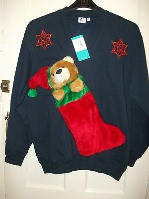 """Ugly Novelty Christmas Jumper/sweatshirt Size M 38-40"""" Chest Hand Decorated"""