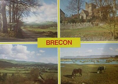 Wales,brecon Multi-View Unused Postcard  From Collection N5