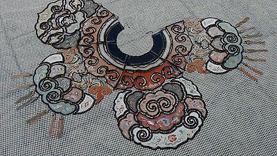 ANTIQUE 19c CHINESE LARGE EMBROIDERY POLYCHROME SILK WEDDING COLLAR W/CORNELIAN