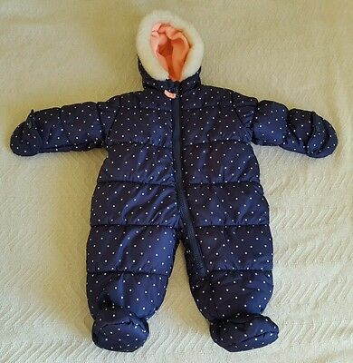CARTER'S Blue White Dot Heavyweight Winter Coat Bunting Size 6-9 Months