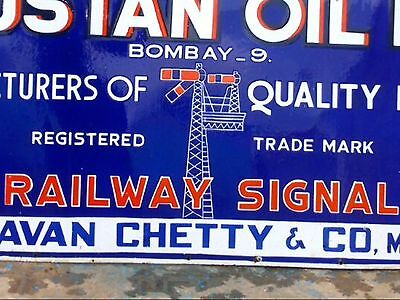 "72"" RAILWAY SIGNAL PAINTS VINTAGE PORCELAIN ENAMEL SIGN 1930s HINDUSTAN OIL MILL"
