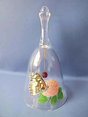 Collectable Lead Crystal Bell Ornament Butterfly Motif, Discontinued Avon In Box
