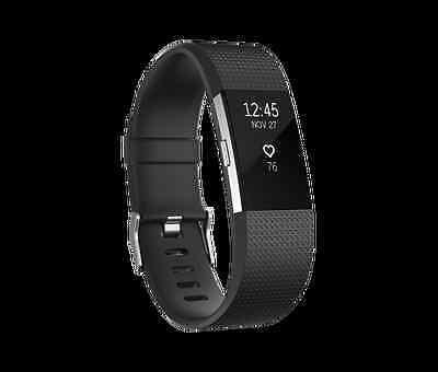 Fitbit Charge 2 Heart Rate Fitness Wristband NEW Free Shipping to EU AUS BLACK L