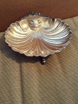 Silver Plated Shell Dish With Markings Footed Fish Feet