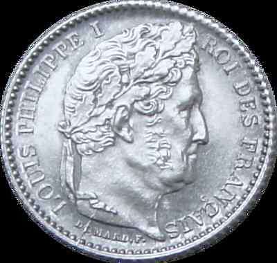 25 CENTIMES Cents 1847 FRANCE Frankreich PHILIPPE I. Silver Coin XF+