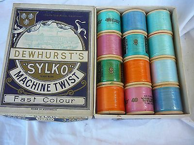 VINTAGE N O S SYLKO BOX of 12 COTTON WOOD REELS INSIDE - still wraped,