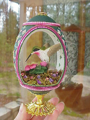 Decorated REAL Emu Egg Carved Hummingbird Collectible Gift Pink Pansy