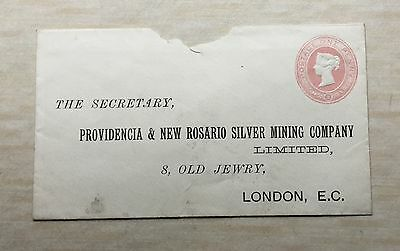 Queen Victoria Embossed 1d pink pre paid envelope, for Providencia & New Rosario