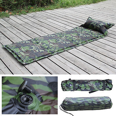Single Camouflage Self Inflating Camping Roll Mat Bed Sleeping Mattress Pad