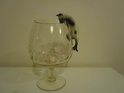 Beswick Climbing Cat & Rare White Beswick Mouse in Brandy Glass. Vintage, Retro