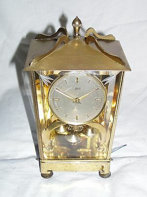 Vintage AUG SCHATZ & SOHNE Electronic Brass Mantle Shelf Clock Made In Germany