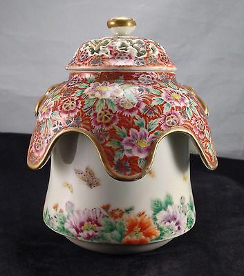Antique Chinese Butterfly Famille Rose Coral Ground Porcelain Qing Censer